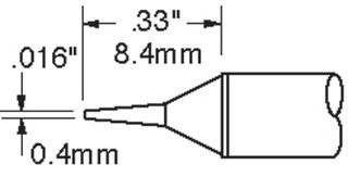 """METCAL - .016"""" (0.4mm) Conical Sharp Solder Tip"""