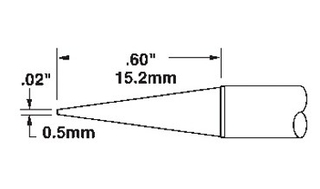 """METCAL - .02"""" (0.5mm) Conical Sharp Solder Tip"""